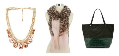 From left: Statement Necklace from Forever 21, $11.80; Ombre Leopard Print Scarf from Charlotte Russe, on sale for $8; Deux Lux Croc-Embossed Faux Leather Tote from Neiman Marcus, on sale for $36.00.