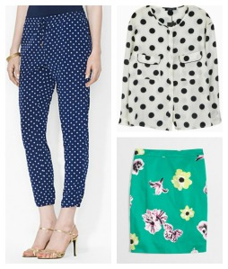 Clockwise from left: Lauren Ralph Lauren Printed Pants from Bloomingdale's, on sale for $33.79; Polka Dot Blouse from Choies, $29.99; Printed Pencil Skirt in Emerald Pool from J.Crew, on sale for $39.99.